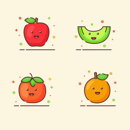 Fruit icons set collection apple orange melon tomato cute mascot face emotion happy fruit with color flat cartoon outline style Vettoriali