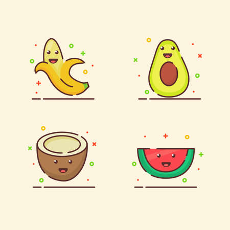 Fruit icons set collection banana avocado coconut water melon cute mascot face emotion happy fruit with color flat cartoon outline style