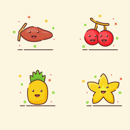 Fruit icons set collection date palm cherry pineapple starfruit cute mascot face emotion happy fruit with color flat cartoon outline style