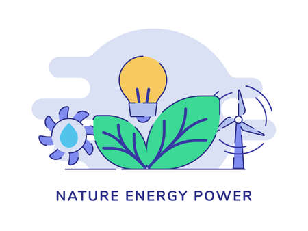 Nature energy power concept leaf light bulb hydro wind power white isolated background with flat outline style