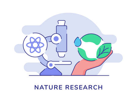 Nature research concept microscope atom hand hold earth drop water leaf white isolated background