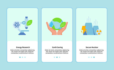 energy research earth saving secure nuclear onboarding for mobile app template ui web with flat style