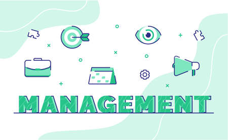 management typography word art background of icon suitcase target calendar eye gear speaker puzzle with outline style vector design illustration Vecteurs