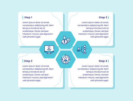 organization infographic diagram four step secure person structure target computer for banner template fyer poster presentation with outline style vector design illustration