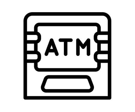 atm machine debit single isolated icon with outline style vector design illustration Ilustração