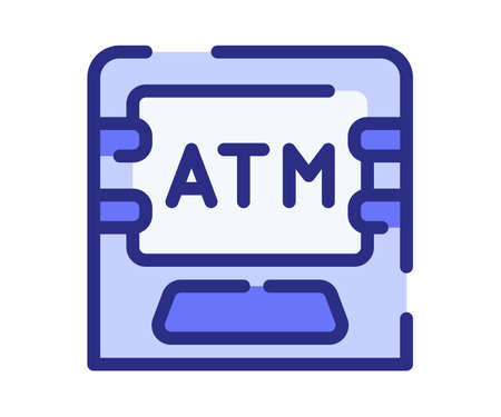 atm machine debit single isolated icon with dashed line style vector design illustration