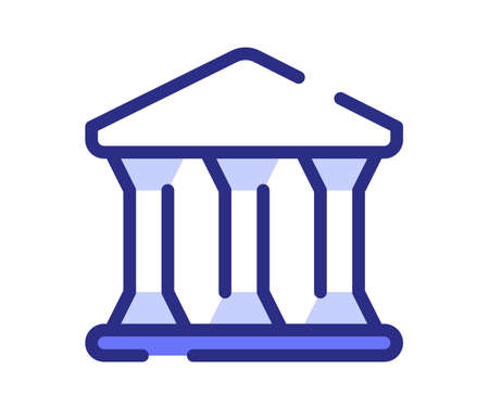 government building bank law single isolated icon with dashed line or dash lines style vector design illustration