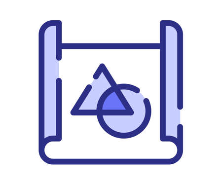 concept blueprint planing single isolated icon with dashed line or dash lines style vector design illustration