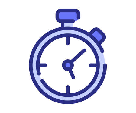 stop watch timer counter single isolated icon with dash or dashed line style vector design illustration