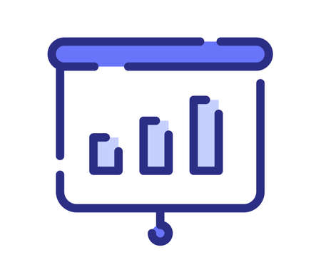 meeting presentation bar chart single isolated icon with dash or dashed line style vector design illustration