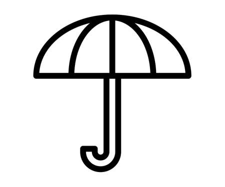 insurance umbrella protect single isolated icon with outline line style vector design illustration