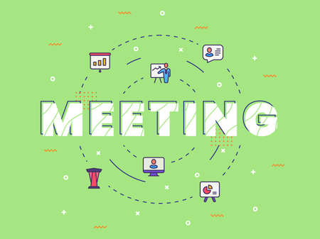 meeting typography calligraphy word art with filled color style vector design illustration Ilustração