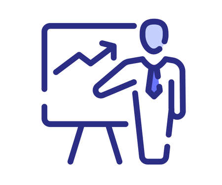 presentation pitching meeting single isolated icon with dash or dashed line style vector design illustration