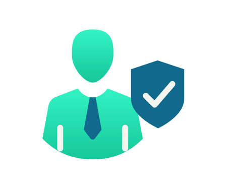 shield secure profile single isolated icon with gradient style vector illustration