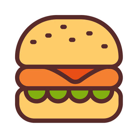 burger fast food hamburger single isolated icon with filled line style vector illustration