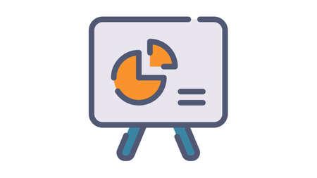 presentation display chart single isolated icon with single isolated icon with flat dash or dashed style vector illustration