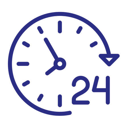 service day 24 hour single isolated icon with outline style vector illustration