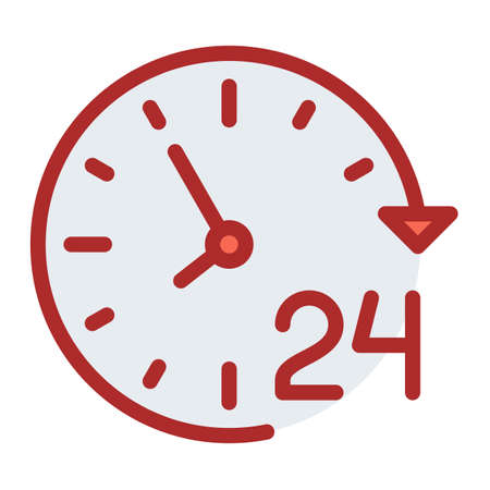 service day 24 hour single isolated icon with filled line style vector illustration