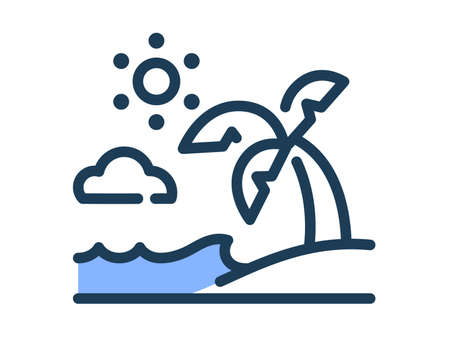 summer beach single isolated icon with dash or dashed line style vector illustration Vector Illustration