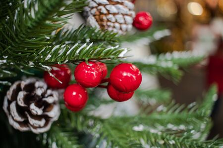 Red berries and frosted pine cones on a christmas tree