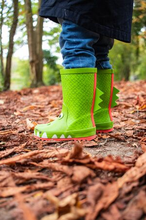 a child's novelty green wellies or wellington boots standing on autumn leaves