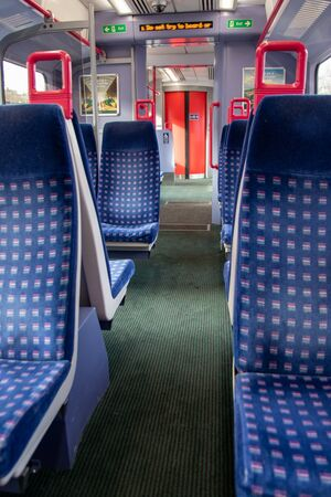 06/06/2019 Portsmouth, Hampshire, UK empty seats on the inside of a British train carriage Editorial