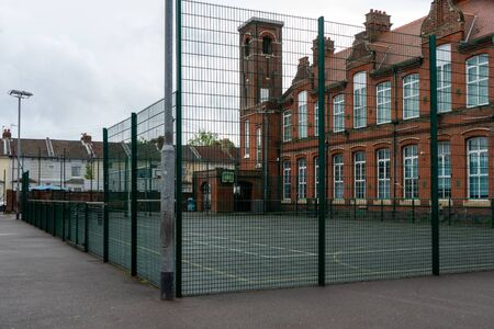 An empty playground in a British school