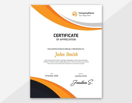 Vertical orange and black Waves certificate template