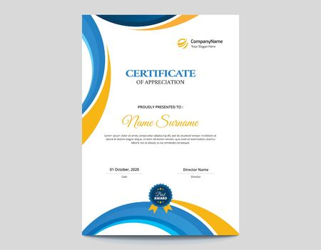 - Vertical Colored Blue and Orange Waves Certificate Design || Colored Waves Vector Background - A4 Size with 3mm Bleed Illustration
