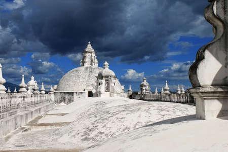Threatening sky on basilica roof leon