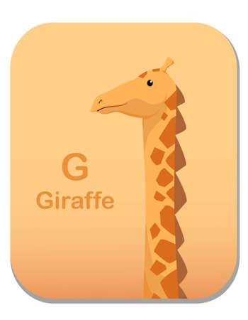 Cartoon Vector Illustration children's alphabet graphic card for children education. with animal character. Letter G Vettoriali