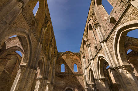 Abbey of San Galgano seen from the inside, in Tuscany, Italy