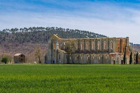 San Galgano Abbey seen from outside, Tuscany, Italy