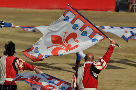 Flag-wavers of the historical Florentine procession during the event Banque d'images