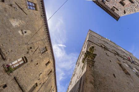View of a glimpse in the Piazza dei Priori in Volterra