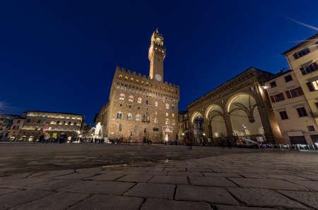 Florence - Piazza della Signoria and Palazzo Vecchio at night