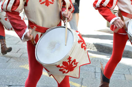 Drum players of the medieval historical procession