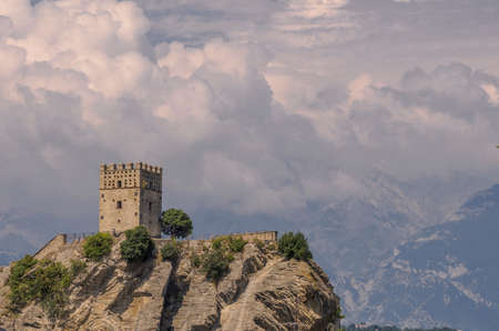 Tower of the castle of Roccascalegna Stock Photo
