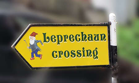 "Traditional ""Leprechaun crossing"" sign in Ireland"