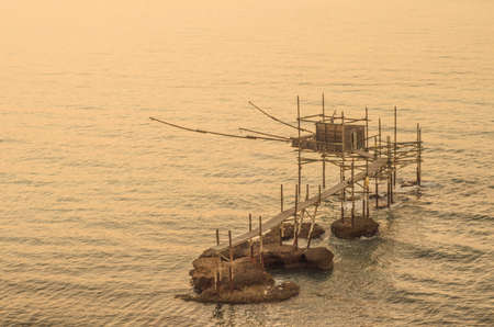 View of a trabucco, an ancient fishing machine typical of the southern Adriatic coast in Italy