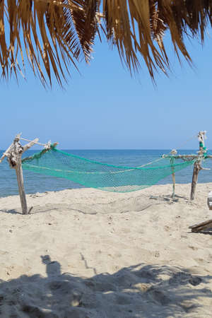 Built hammock and palm trees on the beach