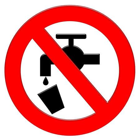 Prohibition symbol with tap illustration icon