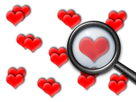 Background of red hearts with magnifying glass
