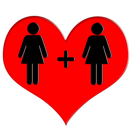 Red heart icon woman and woman Stock Photo