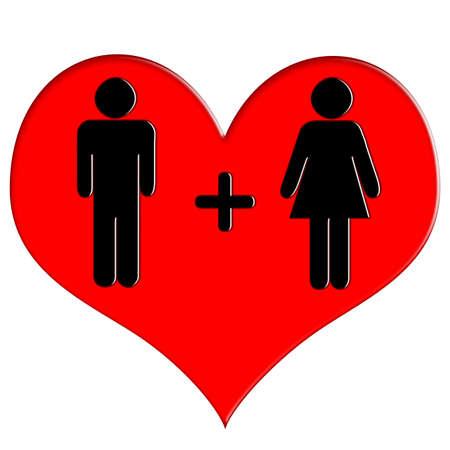 Red heart icon man and woman 版權商用圖片