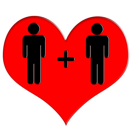 Red heart icon man and man
