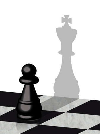 3d illustration of a pawn with shadow of a king