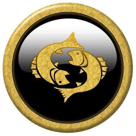 Shiny black elegant button with zodiac sign Stock Photo