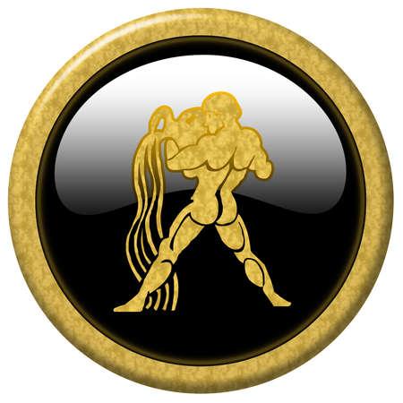 Shiny black elegant button with zodiac sign Zdjęcie Seryjne