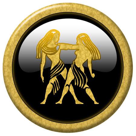 Shiny black elegant button with zodiac sign